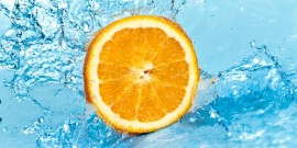 Orange slice in water