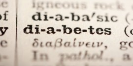 Word diabetes from the old dictionary, a close up.